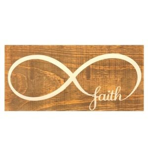 Faith & Infinity Symbol Wooden Art Block